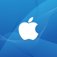 Logo Apple fundal albastru