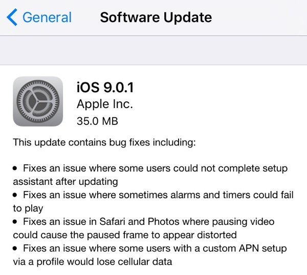 Apple lansează update la iOS 9.0.1 - TechStyle